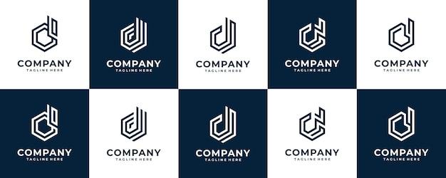 Coleção inicial do modelo do logotipo da letra d do monograma