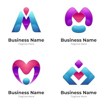 Coleção inicial moderna do logotipo com a letra m
