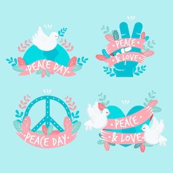Coleção internacional de etiquetas do dia da paz