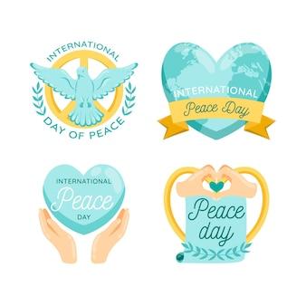 Coleção internacional de rótulos do dia da paz
