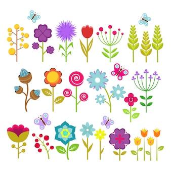 Coleção isolada do vetor das flores do verão. elementos florais bonitos para design retro dos anos 70