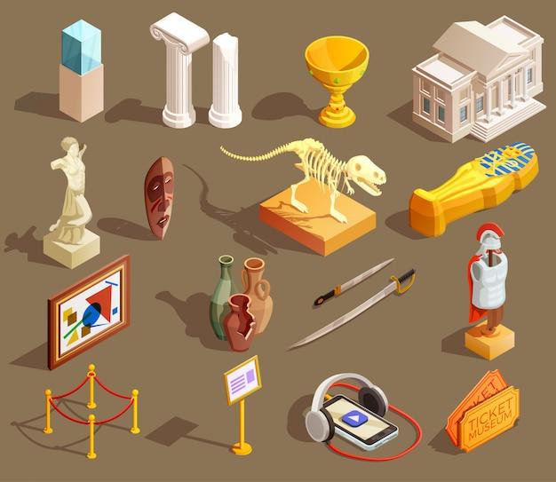 Coleção isométrica de artefatos de museu