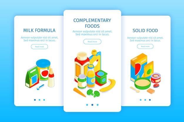 Coleção isométrica de banners verticais de comida para bebê com refeição madura e embalada