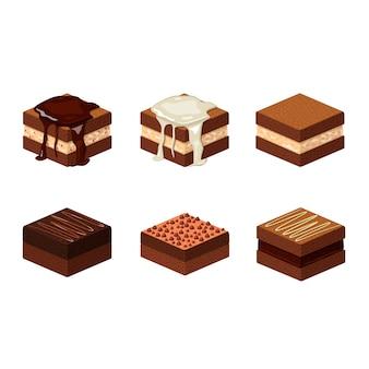 Coleção isométrica de brownies