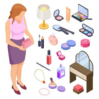 Coleção isométrica de cosméticos e acessórios de mulheres