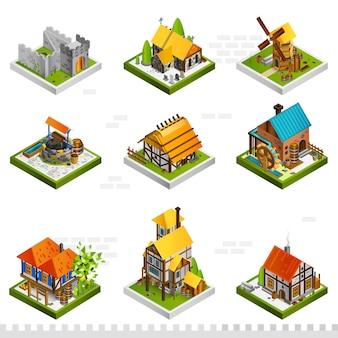 Coleção isométrica de edifícios medievais
