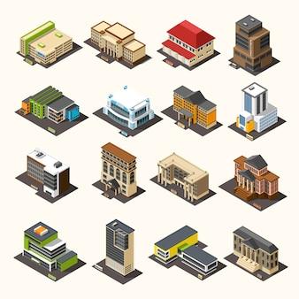 Coleção isométrica de edifícios urbanos