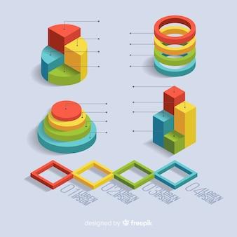 Coleção isométrica de elementos infográfico