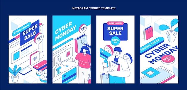 Coleção isométrica de histórias do instagram de segunda-feira cibernética