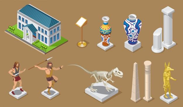 Coleção isométrica de ícones de museu com construção de vasos antigos, colunas, construções egípcias, povos primitivos, dinossauros, faraó, exposições, isoladas