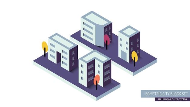 Coleção isométrica de ilustração de quarteirões de pequenas cidades