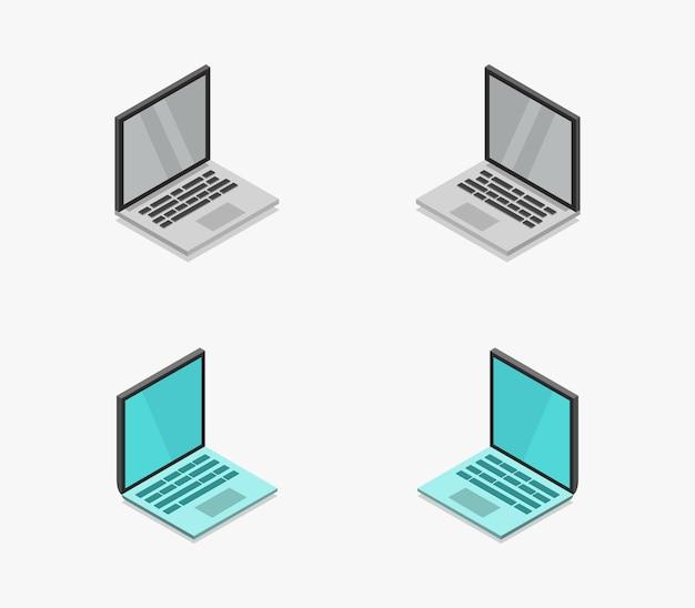Coleção isométrica de laptop