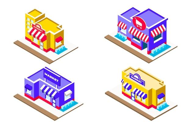 Coleção isométrica de loja