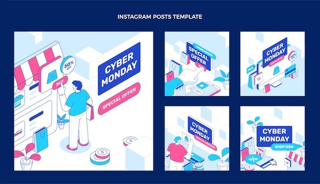 Coleção isométrica de postagens do instagram de segunda-feira cibernética