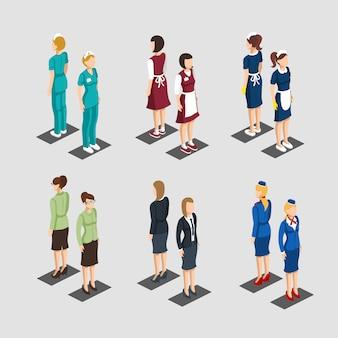 Coleção isométrica de profissões de personagens femininos