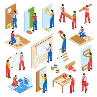 Coleção isométrica de trabalhadores de serviço de remodelação de renovação em casa