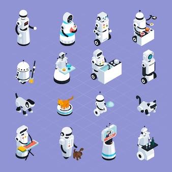 Coleção isométrica dos robôs home