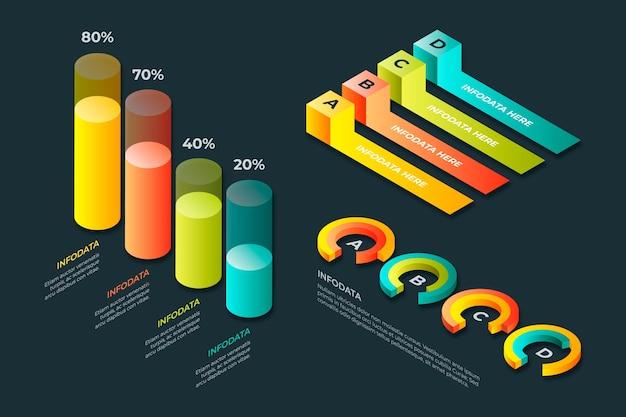 Coleção isométrica infográfico