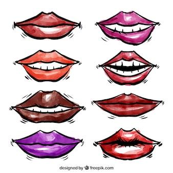 Coleção lábios watercolor