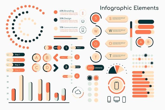 Coleção laranja de elementos de design de infográfico
