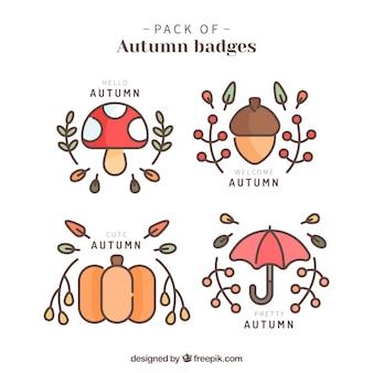 Coleção linda de bonitos emblemas de outono