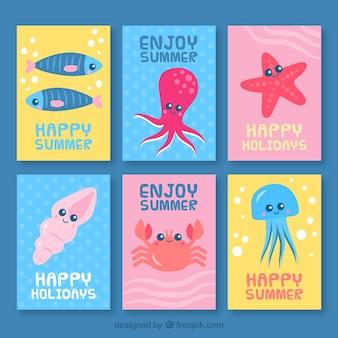 Coleção linda de cartões com animais marinhos