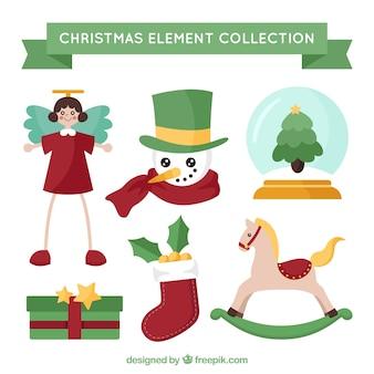 Coleção linda de elementos de natal