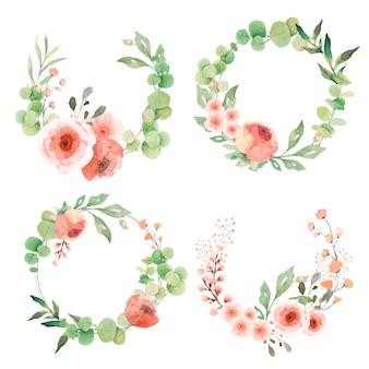 Coleção linda grinalda com folhas e flores de eucalipto