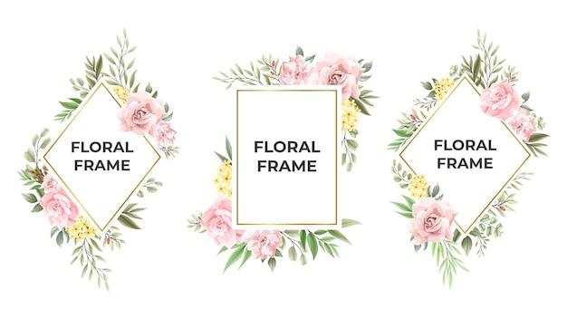 Coleção linda moldura floral rosa