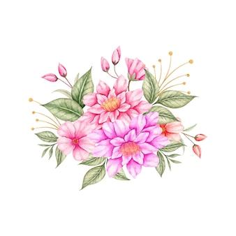 Coleção linda primavera colorida de buquê de flores em aquarela