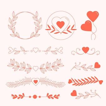 Coleção linear de enfeites de casamento