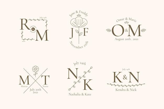 Coleção linear de monogramas de casamento Vetor grátis