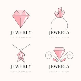 Coleção linear plana de logotipo de joias