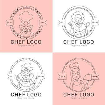 Coleção linear plana de logotipo feminino chef