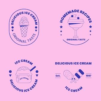 Coleção linear plana de rótulos de sorvete