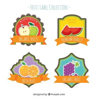 Coleção lisa de quatro etiquetas decorativas da fruta