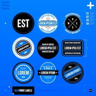 Coleção logo template circular azul