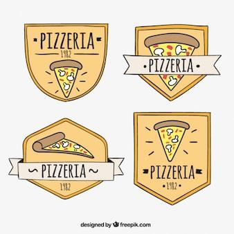 Coleção logos com uma fatia de pizza