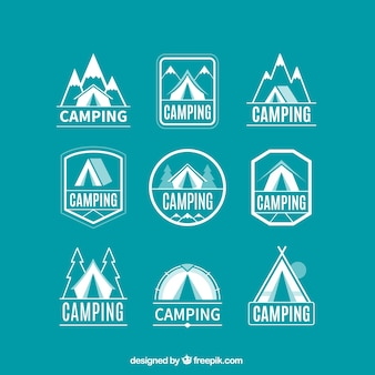 Coleção logotipo acampamento linear