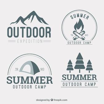 Coleção logotipo aventura desenhada mão
