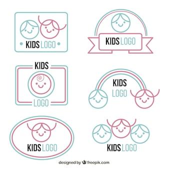 Coleção logotipo azul e rosa criança