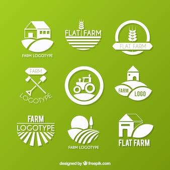 Coleção logotipo fazenda ecológica
