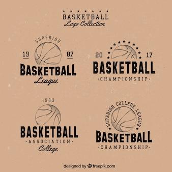 Coleção logotipo retro de basquete
