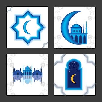Coleção lua cultura mesquita árabe
