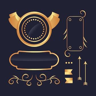 Coleção luxuosa de elementos dourados