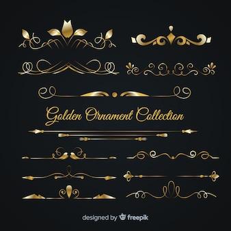 Coleção luxuosa de ornamento dourado