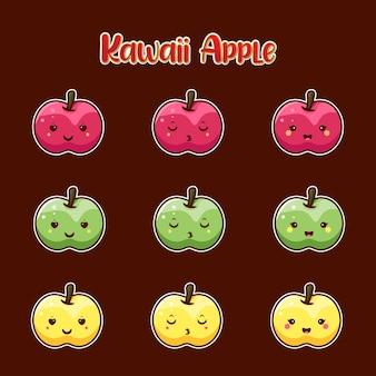 Coleção maçã bonita para ícone, personagem e ilustração