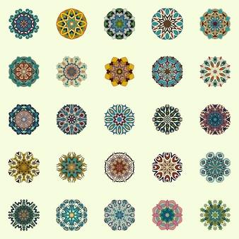 Coleção mandalas. padrão de ornamento redondo. elementos decorativos do vintage