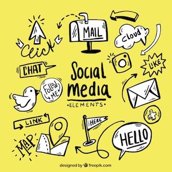 Coleção mão desenhada elementos de mídia social