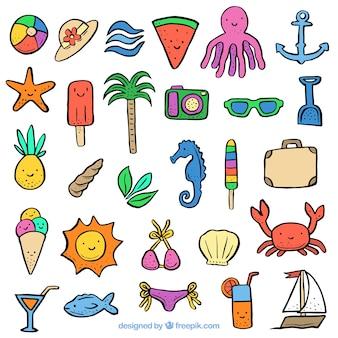 Coleção, mão, desenhado, verão, elementos